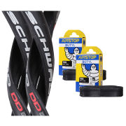 Schwalbe Ultremo DD Clincher Road Tyre Twin Pack with 2 Free Tubes - Black 700c x 23mm