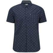 Bench Men's Chevron Print Rapson Short Sleeved Shirt - Navy