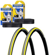 Michelin Pro 4 Endurance Clincher Road Tyre Twin Pack with 2 Free Inner Tubes - Yellow 700c x 23mm