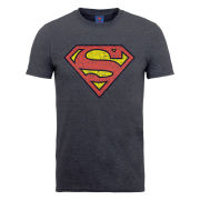 DC Comics Men's T-Shirt Superman Shield Crackle - Dark Heather