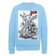 Marvel Avengers Assemble Team Sketch Men's Sweatshirt - Sky