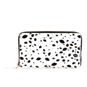 Lulu Guinness Cut Out Spot Leather Continental Zip Around Purse - Black/White