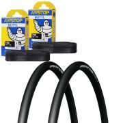 Michelin Pro 4 Race Service Course Clincher Road Tyre Twin Pack with 2 Free Inner Tubes -Black 700c x 23mm