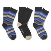 Pepe Jeans Men's Carlos 3 Pack Socks - Grey Marl Stripe/Grey