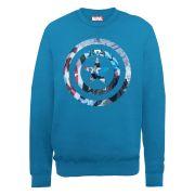 Marvel Avengers Assemble Captain America Montage Symbol Men's Sweatshirt - Royal Blue