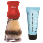 men-ü DB Premier Synthetic Bristle Shaving Brush with Chrome Stand - Red