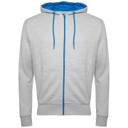 Brave Soul Men's Rafter Contrast Zip Through Hoody - Grey Marl/Bright Blue