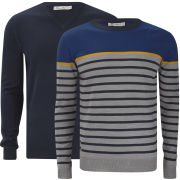Brave Soul Men's Marc 2-Pack Knitted Jumpers - Mid Grey Marl/Dark Navy/Mustard/Cobalt