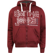 Smith and Jones Men's Forax Borg Lined Zip Through Hoody - Burgundy