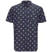 Brave Soul Men's Kudos Short Sleeve Printed Star Shirt - Blue