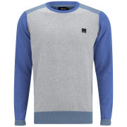 Bench Men's Imam Crew Neck Knit - Grey Marl/Blue
