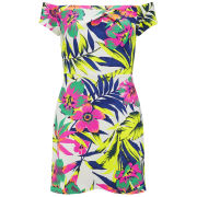 LOVE Women's Tropical Print Scuba Cold Shoulder Dress - Multi