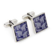 Ted Baker Men's Blue Striped Elephant Cufflinks - Blue