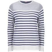 Armor Lux Women's Knitted Inside Out Sweater - Rich Navy/Milk - M = T3 M = T3 Rich Navy/Milk