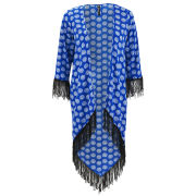Influence Women's Circle Print Tassel Kimono - Blue