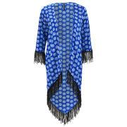 Influence Women's Circle Print Tassel Kimono - Blue