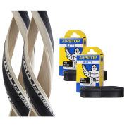 Michelin Pro 4 Race Service Course Clincher Road Tyre Twin Pack with 2 Free Inner Tubes - White 700c x 23mm