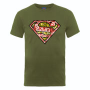 DC Comics Men's T-Shirt - Superman Cells Logo - Military Green