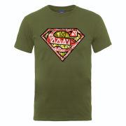 DC Comics Men's T-Shirt Superman Cells Logo - Military Green