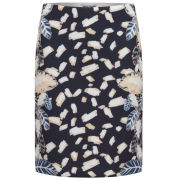 Opening Ceremony Women's Blush Painted Leaves Pencil Skirt - Blush Pink