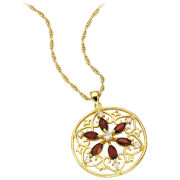 Gold Plated Circle Filigree Design Garnet Pendant