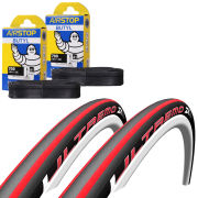 Schwalbe Ultremo ZX Clincher Road Tyre Twin Pack with 2 Free Inner Tubes - Black/Red 700c x 23mm