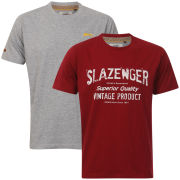 Slazenger Men's 2-Pack T-Shirts - Berry/Dark Grey Marl
