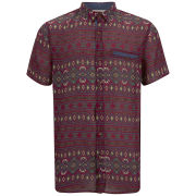 nANA jUDY Men's Rhapsody Vintage Ornate Printed Short Sleeved Shirt  - Red