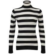 John Smedley Women's Lilibet Merino Extra Fine Roll Neck Stripe Jumper - Black/White