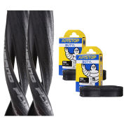 Schwalbe Durano Plus Clincher Road Tyre Twin Pack with 2 Free Inner Tubes - Black 700c x 23mm