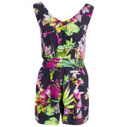 AX Paris Women's Tropical Print Playsuit - Navy