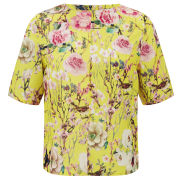 Glamorous Women's Bird Print Floral Top - Yellow
