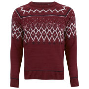 Brave Soul Men's Riley Fairisle Jumper - Wine