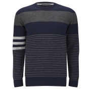 French Connection Men's Freighter Merino Stripe Crew Neck Jumper - Marine/Charcoal