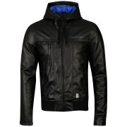 Crosshatch Men's Leather Look Contract Hooded Jacket - Black/Blue