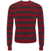 Marc by Marc Jacobs Men's Textured Stripe Crew Neck Sweater - Wineberry Melange
