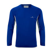RonHill Men's Advance Long Sleeve Crew Neck Running Top - Cobalt/Clay