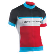 Northwave Men's Logo Short Sleeve Jersey - Red/Black/Blue