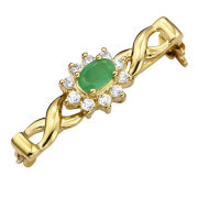 Gold Plated Emerald & Cubic Zirconia Pin Brooch