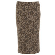 Damned Delux Women's Bonded Lace Pencil Skirt - Black/Cream