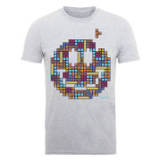Joystick Junkies Men's T-Shirt Block Face - Heather Grey