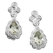 Silver Plated Pear Shaped Green Amethyst Earrings