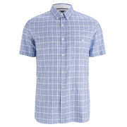 French Connection Men's Soldier Peached Short Sleeve Shirt - Blue Oxford Check