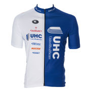 United Healthcare Men's Team Replica Short Sleeve Long Zip Jersey - White/Blue 2014