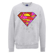 DC Comics Sweatshirt - Superman Splatter Logo - Heather Grey
