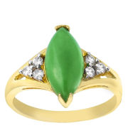 Gold Plated Marquis Shaped Green Jade Ring