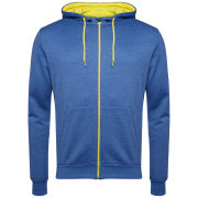 Brave Soul Men's Rafter Contrast Zip Through Hoody - Blue Marl/Yellow