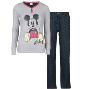 Mickey Mouse Women's Printed Pyjama Set - Grey Marl & Charcoal