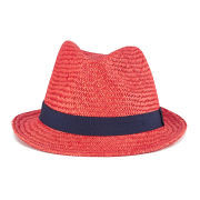 French Connection Men's Colour Pop Straw Trilby Hat - Ayers Red