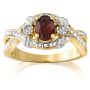 Two Toned Genuine Garnet Bypass Ring